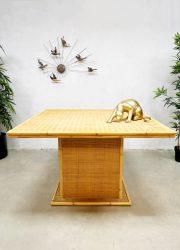 vintage design rattan rotan dining table bamboo bamboe eetkamertafel