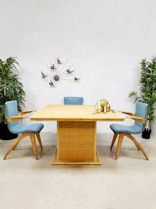 Vintage rattan bamboo dining table tafel 'bohemian table time'