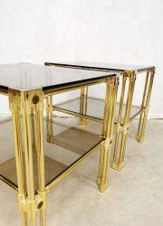 Midcentury brass & glass side tables vintage bijzettafels 'Hollywood regency class'