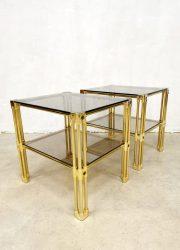 eclectic vintage brass side tables bijzettafeltjes