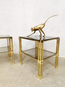 eclectic vintage brass side tables bijzettafeltjes