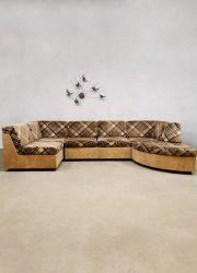 Vintage modular sofa modulaire loung bank 'Criss cross brown beige'