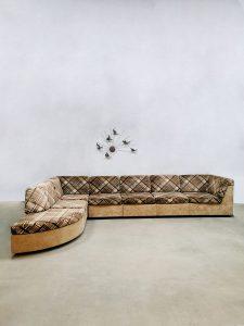 Vintage modular sofa modulaire lounge bank 'Criss cross brown beige'