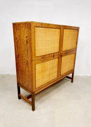 vintage rotan kast midcentury design cabinet