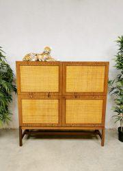 Midcentury design rattan cabinet rotan dranken kast 'Bohemian chique'