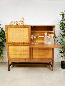 vintage seventies rattan cabinet rotan dranken kast
