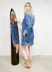 Vintage 'lipstick' floor mirror spiegel Roger Lecal Chabrieres & Co
