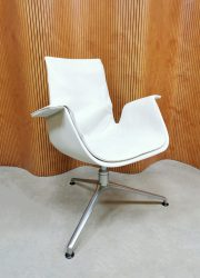 Vintage design Tulip office chair bureaustoel Kill international 'white leather'