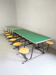 Industrial vintage school picnic 8 seat canteen dining table picknick tafel