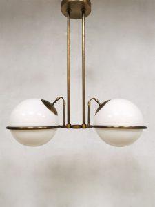 Midcentury brass pendant bollamp hanglamp 'art deco globes'