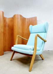 Vintage Danish design wingback chair lounge oorfauteuil 'Blue Scandinavian modern'