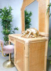 midcentury design bamboo dressing table cabinet kaptafel bamboe