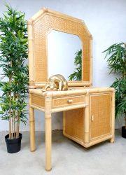 vintage retro bamboo rattan side tabel vanity tafel kaptafel jaren 70 80