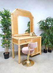Vintage faux bamboo dressing vanity table bamboe kaptafel 'natural beauty'