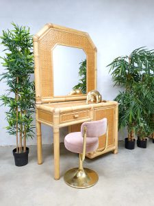Vintage faux bamboo dressing vanity table bamboe kaptafel 'natural beauty'
