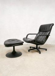 vintage leather swivel chair ottoman Harcourt Artifort leren draaifauteuil lounge chair hocker
