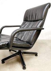 vintage desgin zwart leren draaifauteuil Artifort leather swiverl chair G. Harcourt