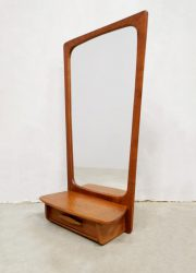 teak wood Danish design mirror spiegel shelf