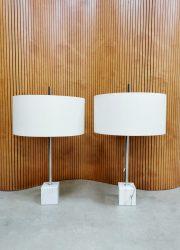 Midcentury Dutch design marble table lamp tafellamp Raak Amsterdam