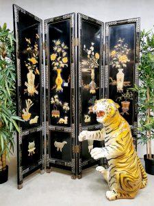 Vintage Italian design ceramic tiger statue tijger beeld keramiek XXL
