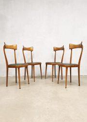 midcentury vintage design Italian dining chairs dinner chair eetkamerstoel stoelen 1950