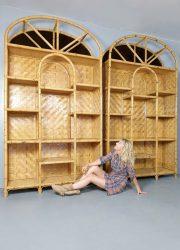 hollywood regency bamboo cabinet wall unit kast