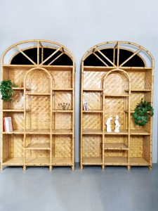 Vintage bamboo etagère bamboe wandkast room divider 'Boho chique' XL