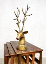 Midcentury brass deer statue messing hert buste 'oh my deer'