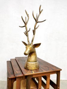 Midcentury brass deer statue messing hert buste 'oh my deer'