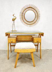 Dutch vintage design dressing table desk kaptafel bureau 'Teddy' ottoman