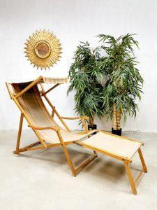 Vintage design folding beach pool chair strandstoel 'multi stripes'