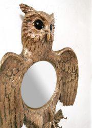 Frans vintage spiegel goud uil owl mirror design sixties jaren 60