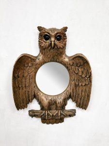 French vintage convex bubble owl mirror uilen spiegel sixties