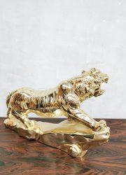 vintage gold tiger panter stature gouden tijger beeld