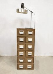 Vintage metal industrial file cabinet chest of drawers archief ladenkast 'Addressograph'