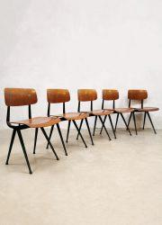 Industrial Dutch design school chairs stoelen Friso Kramer 1st edition