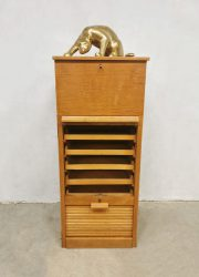 Solid oak tambour role filling cabinet vintage rolluikkast