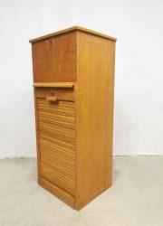 Solid oak tambour role filling cabinet vintage rolluik kast