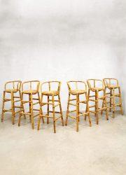 bohemian barstools rattan rotan bamboo bamboe barkrukken stools retro vintage