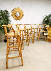 midcentury design barstools bamboo bamboe barkrukken