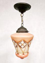 Art deco hand painted pendant light opaline glass hanglamp 'teardrop'