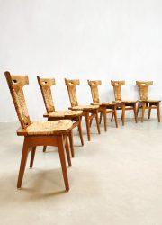 Brutalist midcentury vintage dinner chairs eetkamer stoelen 'handcrafted' handwerk Gennep by Smeets