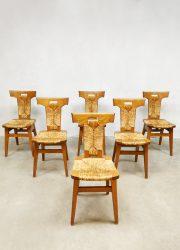 midcentury brutalist design dining rope chairs eetkamerstoelen Pierre Chapo style