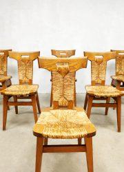 wabi sabi style vintage dining dinner chairs eetkamerstoelen midcentury design riet