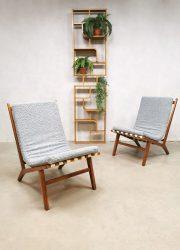 Midcentury Czech design easy chairs Jan Vanek lounge chairs 'Minimalism'