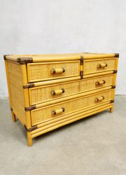 bamboo cabinet chest of drawers ladekast vintage midcentury modern