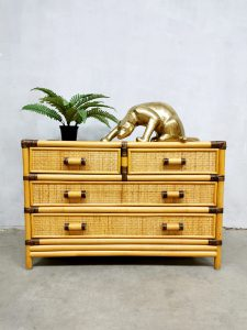 Vintage bamboo chest of drawers cabinet bamboe ladekast 'Boho'
