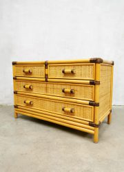 vintage night stand ladekast chest of drawers bamboe nachtkastje