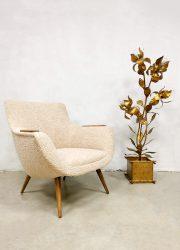 Vintage Dutch design easy armchair bouclé lounge chair 'Pure Nature'