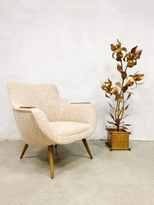Vintage Dutch design easy armchair bouclé lounge chair 'Pure Nature'